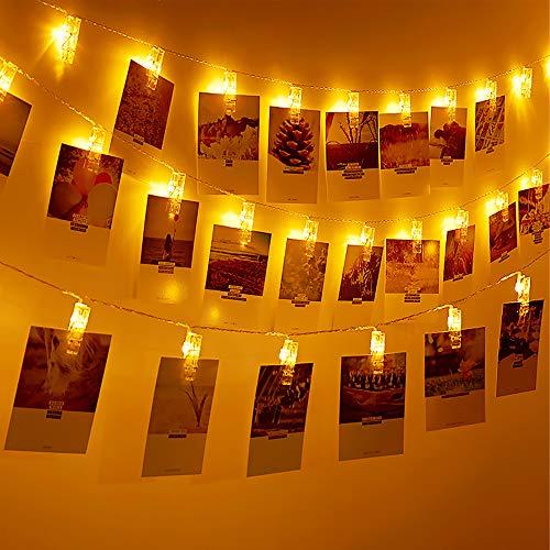 Mitening Lichterkette mit Klammern für Fotos, 8 Modi Fotoclips Lichterketten USB/Batteriebetrieben Fotolichterkette Fotolichter Kette für Zimmer Schlafzimmer Bilder Weihnachten Hochzeit Deko