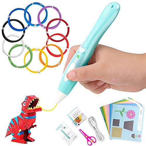 Bolígrafo 3D, Splaks Bolígrafo de Impresión Criogénica 3D con Carga USB, Lápiz 3D Inteligente con Filamento PCL 20M de 10 Colores, Pluma 3D de Velocidad Ajustable, Boli 3D Regalos para Niños