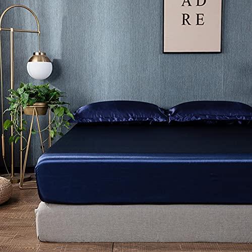 Chytaii Drap Housse 180x200 cm Bleu Foncé - Satin de Soie Doux Respirant Extensible Protège Matelas Drap - Jusqu'à 25 cm de Hauteur
