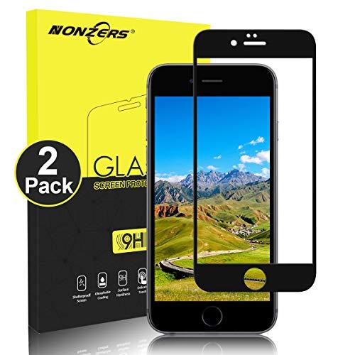 NONZERS Protector de Pantalla para iPhone 6/iPhone 6S Cristal Vidrio Templado, [2 Unidades] [9H Dureza] [2.5D Round Edge] Cristal Templado Compatible con 3D Touch - Negro