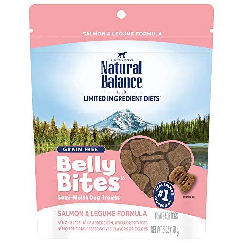 Natural Balance Belly Bites Semi Moist Dog Treats, Salmon & Legume Formula, 6 Ounce Bag, Grain Free