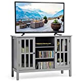 """Tangkula TV Stand, Classic Design Wood Storage Console Free Standing Cabinet for TV up to 50"""", Media Entertainment Center with Wire Hole, Home Living Room Furniture, TV Stand Cabinet (Grey)"""