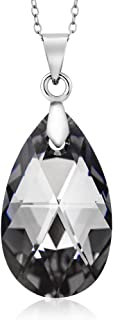 Gem Stone King Nirano Collection Black Tear Drop Pendant Made with Swarovski Crystals
