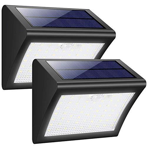 Lin-Yo Foco Solar Exterior 38 Leds Luz Solar Jardín,Luces Sensor de Movimiento Impermeable Seguridad Luces Solares 3 Modos Inteligente Luz Potente Brillante Blanca para Jardín(2 Piezas)