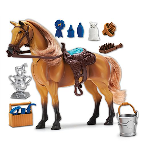 Sunny Days Entertainment Quarter Horse with Moveable Head, Realistic Sound and 14 Grooming Accessories - Blue Ribbon Champions Deluxe Toy Horses