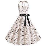 EMPERSTAR Vestido De Cóctel Vintage para Mujer con Lunares De Los Años 50 Rockabilly Halter Swing Dresses Blanco S