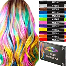 Mosaiz Hair Chalk for Girls and Boys - 12 Pcs Chalk Pens including Black and Brown Colors, Washable Temporary Hair Color for Kids, Teens and Adults