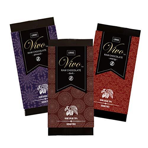ダーク&アーモンド&エナジーセット ローチョコレート『Vivo』 70g×3 生カカオ70% 砂糖・乳製品は一切不使用 酵素が生きた生チョコレート