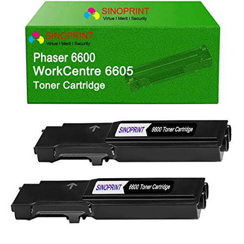 SINOPRINT Compatible Toner Cartridge Replacement for Xerox Phaser 6600, WorkCentre 6605 High Yield Black Toner 106R02228 (Black, 2Pack)
