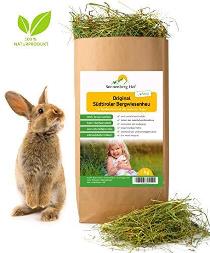 Sonnenberg Hof Heu 1kg - Frisches Wiesenheu 1. Schnitt für Kaninchen Meerschweinchen Hamster und Nager I Bergwiesenheu für Kleintiere