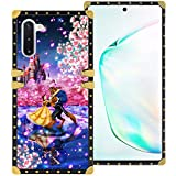 DISNEY COLLECTION Samsung Galaxy Note 10 6.3 Inch 2019 Luxury Phone Case Belle Beauty and The Beast Dance Romantic Square Phone Cover Metal Decoration Corner Shockproof Phone Shell
