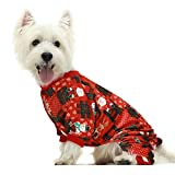 Fitwarm Christmas Plaid Dog Pajamas Pet Clothes Onesies Cat Costumes Outfits Santa Reindeer Snowman Red Lightweight Velvet Red Large