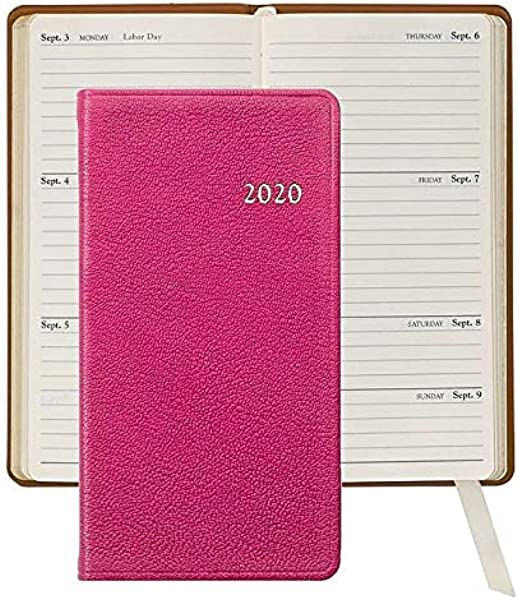 2020 Brights Pink 6in Pocket Datebook Diary Fine Leather By Graphic Image 3x6