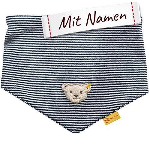 LALALO Steiff Baby Jersey Halstuch bestickt mit Namen, Dreieckstuch/Nickytuch personalisiert, Nickituch Teddy Bär, Junge, Streifen & Bindbare Enden (Navy/Dunkel Blau)