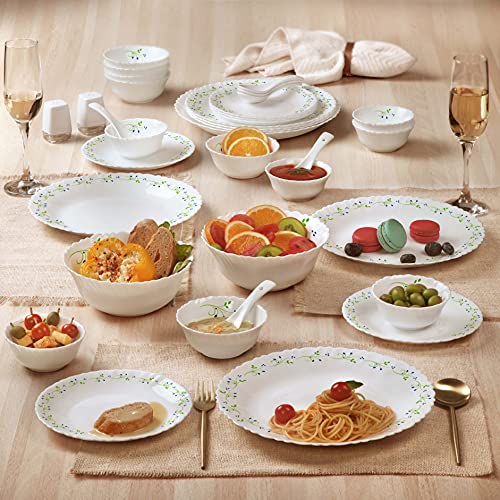 Cello Tropical Lagoon Dazzle Series Opalware Dinner Set, 35-Pieces, Service for 6, White