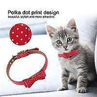 【𝐍𝐞𝒘 𝐘𝐞𝐚𝐫𝐬 𝐆𝐢𝐟𝐭𝐬】快適な調節可能な猫の犬の弓のネクタイ、赤の美しいPUレザーペットの猫の首輪、ペットの猫の犬の首輪のための黒ペットの首輪の犬(red, 1.3*32cm)