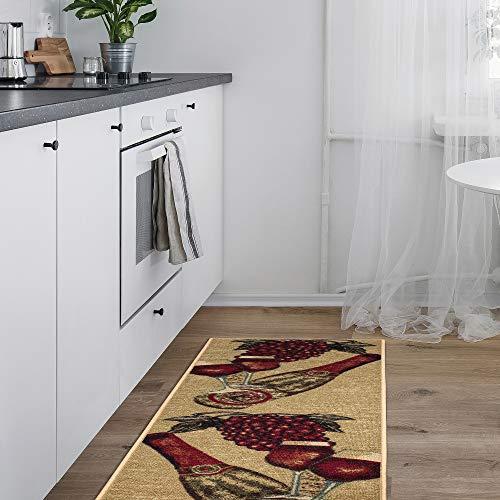 Ottomanson Siesta Collection Design (Non-Slip) Runner Rug, 20' x 59', 20'X59', Beige Kitchen Wine