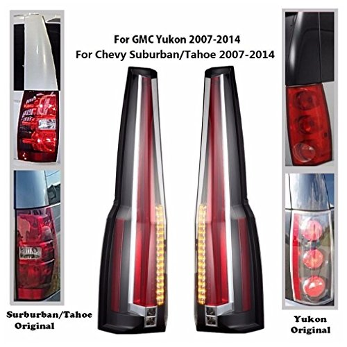 JDMSPEED New LED Tail Light Replacement For Chevy Tahoe 2007-2014 / Chevy Suburban 07-14/ GMC Yukon 07-14/ GMC Yukon Denali 07-14'Cadillac Escalade' Style Tail Lights