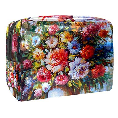 Bolsa de maquillaje portátil con cremallera, bolsa de aseo de viaje para mujeres, práctica bolsa de almacenamiento cosmético de flores de arte