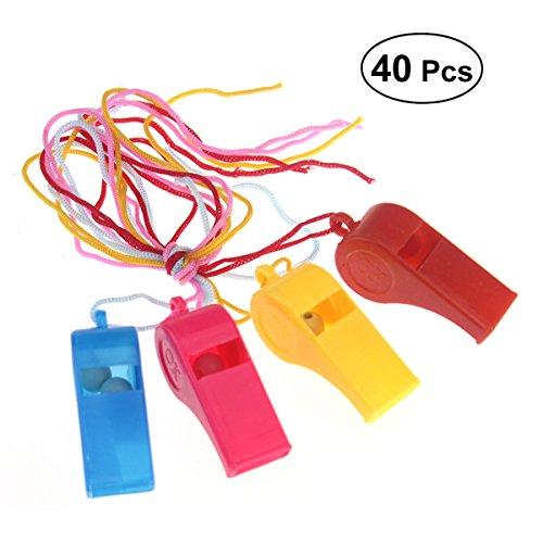 Yeahibaby 40pcs Silbatos de Plástico con Cordón para Fiesta Deportes entrenadores silbato de deporte de entrenamiento para niños