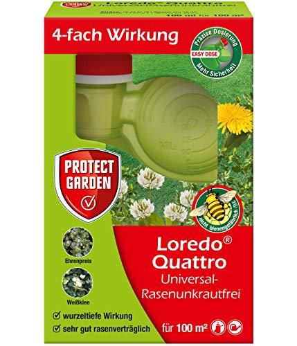 PROTECT GARDEN Universal-Rasenunkrautfrei Loredo Quattro Rasen Unkrautvernichter gegen hartnäckige Unkräuter mit 4-fach Wirkung, 100 ml
