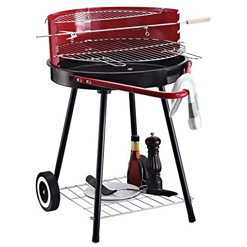 Outsunny Holzkohlegrill Rundgrill Standgrill auf Rollen mit Ablage Rost BBQ Metall Rot L67 x B51 x H82cm
