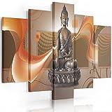Feeby Frames, Cuadro en Lienzo - 5 Partes - Cuadro impresión, Cuadro decoración, Canvas (Buda MARRÓN) 150x100 cm, Tipo A