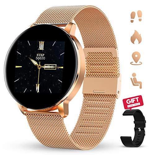 GOKOO Reloj Inteligente Mujeres Hombres con Android iOS Smartwatch Reloj 1.3 Pulgadas Pantalla Completa Táctil Reloj Deportivo Presión Arterial Frecuencia Cardíaca IP67 Impermeable Compatible (Dorado)