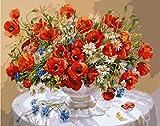 Sun Red Flowers Picture Diy Pintura al óleo digital Florero Quadros Decoración para el hogar Arreglo de arte de pared Pintura de algodón por números Marco de bricolaje 40 * 50Cm-Con marco
