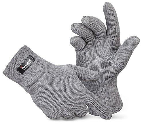 Herren Thermo Strick-Handschuhe Thinsulate Grau L/XL