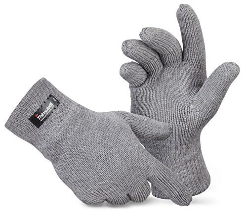 Herren Thermo Strick-Handschuhe Thinsulate Grau L/XL