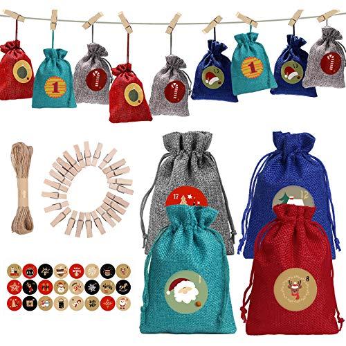 24 Adventskalender Zum Befüllen, Adventskalender 2020 für Kinder, 10 x 14cm Weihnachten Geschenksäckchen mit Zahlen Aufkleber, 24 Stück Holzklammern und 10m Jute Hanfseile