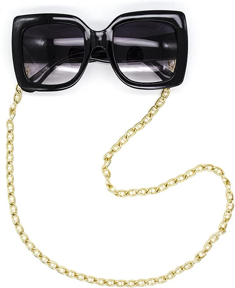 ZYKBB Glasses Chain for Women inlaid pearl Lanyard Hip Hop Glasses Strap Sunglasses Cords Casual Chain For Glasses (Color : Gold, Size : Length-70CM)