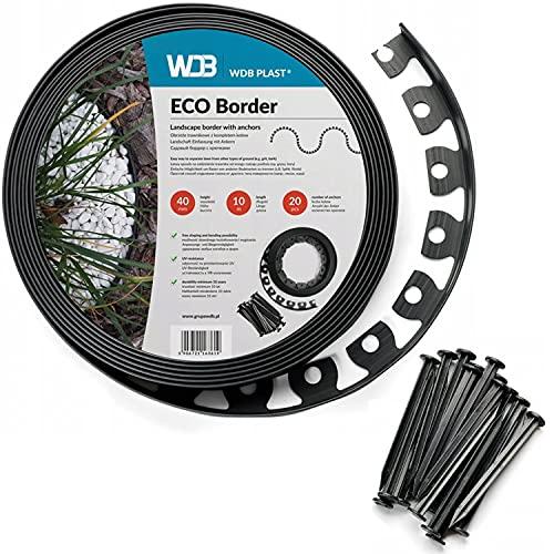 WDB Bordo flessibile per prato in plastica, lunghezza 10 m, altezza 4 cm, con 20 chiodi di fissaggio, colore nero, RAL 9005