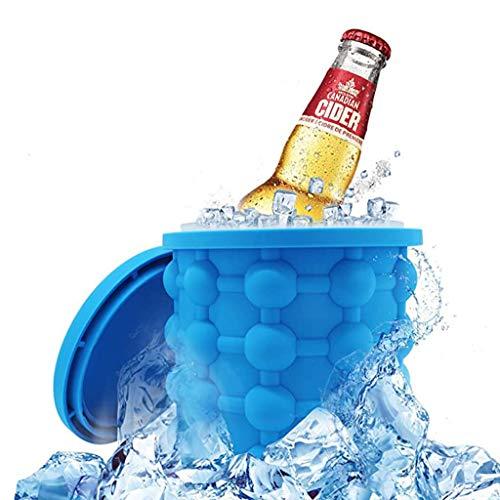 Siliconen Ijsemmer Met Deksel, Ice Cube Master, Draagbare Ijsblokjesmachine Buitenkoelkast Voor Bevroren Whiskycocktaildranken Blauw