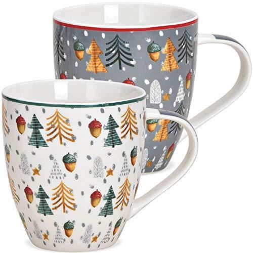 matches21 Jumbo Kaffeetassen Weihnachtstassen Porzellan Weihnachtsbäume & Eicheln weiß & grau 2er Set sort 10 cm 400 ml