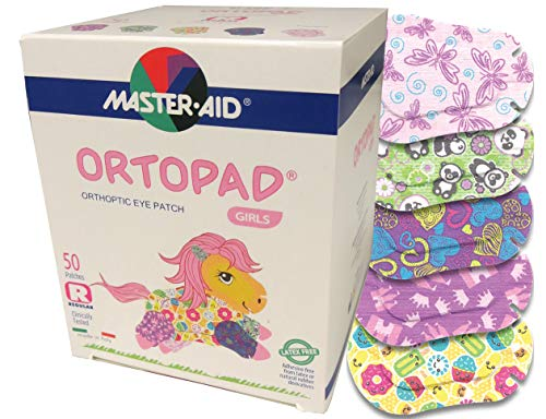 Ortopad Bamboo for Girls, Adhesive Eye Patches, Softer Material (50 Per Box) (Regular Size)