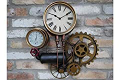 Casadomu Steampunk Clock Industrial Pipe Wall Hanging Large Rustic Cogs Decor Timepiece #1