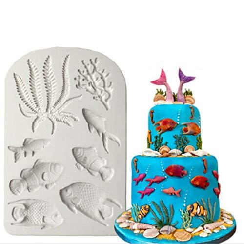 Yingwei Seetang Korallen Fisch Silikon Kuchenform Schokolade Fondant Schimmel Molds Backformen