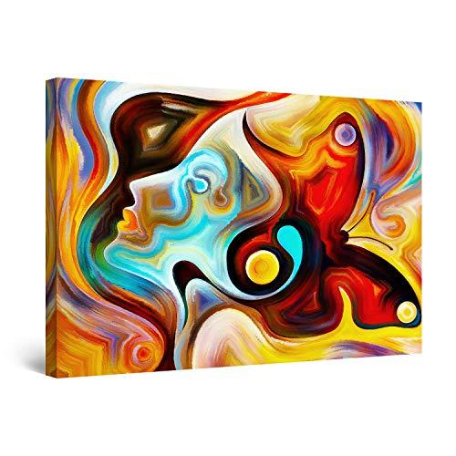 Startonight Cuadro Moderno en Lienzo Pintura Abstracta, Cara Coloreada de Mujer Simona, para Salon Decoración Grande 80 x 120 cm
