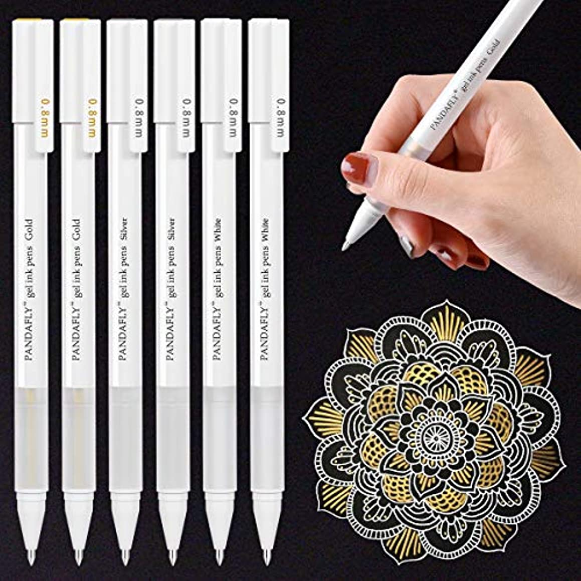 White Gold Silver Gel Pens, PANDAFLY 3 Colors Gel Ink Pen Set, Archival Ink Fine Tip Sketching Pens for Illustration Design, Art Drawing, Black Paper Drawing, Adult Coloring Book, Pack of 6