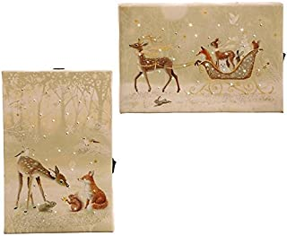 """RAZ Imports Deer & Friends Print Ornament with Easel Back 4""""L X 6""""H 2 Pack"""
