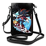 Surfing Shadow The Hedgehog, Sonic Cellphone Purse Leather Wallet Women Crossbody Bag