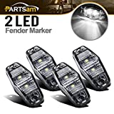 Partsam 4X 2.5 Clear/White LED Lamp 2 Diode Trailer Truck Side Marker Lights, Sealed 2.5