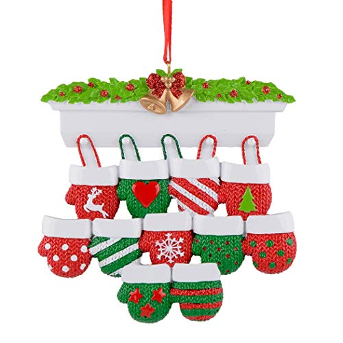 Personalized Christmas Ornament Mantel Gloves Family of 11 for Christmas Tree Decoration