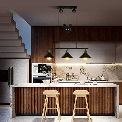 Lámpara de techo de tres luces, isla de cocina, regulable, industrial,...