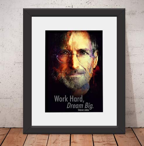 Quadro Decorativo Poster Steve Jobs Apple - Vidro Anti-Reflexo & Paspatur 46x56cm