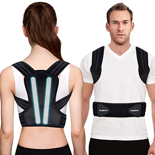"""Posture Corrector for Men, Women and Kids, Kungfuren Premium Adjustable Back Brace with 2 Removable Rails for Improve Posture and Provide Lumbar Support, Suitable for Waistline 41.7""""-51.2""""(XL)"""