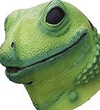 Molezu Lizard Head Mask Halloween Costume Props Adult Party Realistic Animal Latex Masks Green (Green)