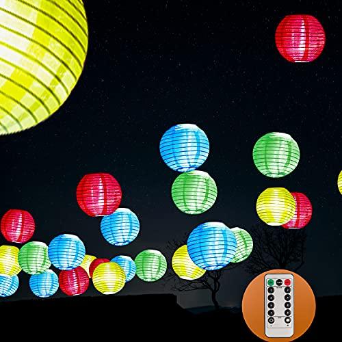 Lampion Lichterkette, Lampions, LED Lichterkette Lampion, Lampion Lichterkette Außen mit Timer, 30 LED Lichterkette, 7,8m Laternenlichtkette, Außenlichtlicht Wasserdicht, Batteriebetrieben